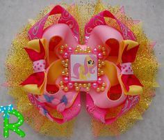 Fluttershy Hair Bow  My little pony Hair Bow  by RoshelysBowtique