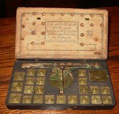 18th century coin or gold scale with 22 brass weights-Forsthoff, Germany---15310