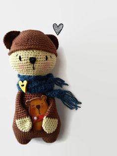 This bear is crocheted with a 100% cotton yarn, which makes it extra soft and stuffed with a synthetic non allergenic filling. It's