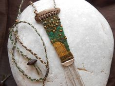 ...ready! Driftwood Necklace 'beehive', loom woven pendant - by manufabrica on Etsy