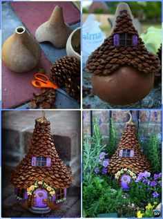 DIY Gourd Pinecone Fairy House Instruction-DIY Gourd Craft Projects 5 DIY Gourd Craft Projects Fall Home Decor: including the gourd painting gossip chicken, gourd drilling lanterns, Gourd-O-Lantern, birdhouses and more. Fairy Crafts, Garden Crafts, Fun Crafts, Diy And Crafts, Nature Crafts, Garden Projects, Decor Crafts, Pine Cone Art, Pine Cone Crafts