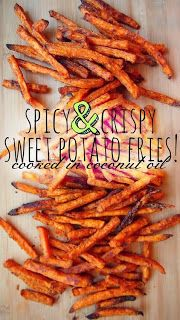 Healthy Baked Chicken & Black Bean Tacos W/Crispy Sweet Potato Fries Finding The Fit Girl Inside Me: Sweet and Crispy Sweet Potato Fries Eat clean recipes Clean eating Side Recipes, Clean Recipes, Real Food Recipes, Vegetarian Recipes, Cooking Recipes, Yummy Food, Healthy Recipes, Tasty, Delicious Recipes
