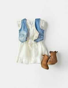 this is the cutest outfit ever for a little girl…baby cowboy boots, jean vest,… this is the cutest outfit ever for a little girl…baby cowboy boots, jean vest, white dress :) – Hair Women Outfits Niños, Baby Outfits, Kids Outfits, Little Girl Outfits, Little Girl Fashion, Little Girls, Fashion Kids, Toddler Fashion, Fashion Games