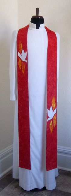 Red Clergy Stole for Pentecost and by SerendipityStoles on Etsy