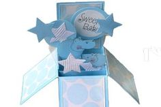 Baby pop box card-with step by step directions on how to make a box card that folds