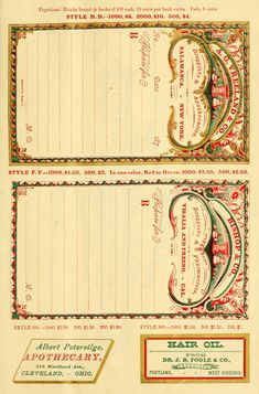 ARTEFACTS - antique images: Antique Prescription Pad — for personal use only!