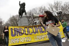 """Friday, March 16, 2012 photo, New York resident Melissa Garcia Velez from Colombia speaks during a rally in Union Square in New York. Across the country, children of families who live here illegally are """"coming out"""" publicly under under the slogan """"Undocumented, unafraid, unapologetic""""."""