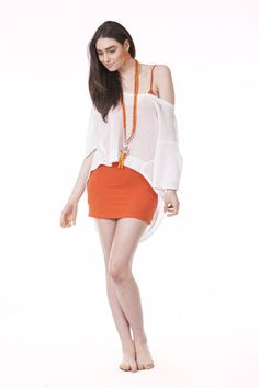 Addie Top in Coconut, Simply Long Cami in Orange