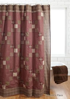 Country Style Quilts and Home Accessories Lighting Rugs Country Decor Everson Shower Curtain / Like Primitive Shower Curtains, Primitive Bedroom, Primitive Bathrooms, Primitive Kitchen, Country Primitive, Bathroom Shower Curtains, Bathroom Signs, Country Bathrooms, Bathroom Ideas