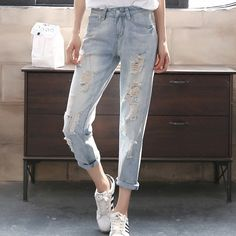 23.22$  Buy now - http://ali5qc.shopchina.info/1/go.php?t=32664920845 - Ripped Jeans For Women Nine Harem Pants Jeans Woman Spring And Summer Light Blue  Women Jeans  #buyonlinewebsite