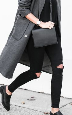 Black ripped jeans / all black clothing / tomboy fashion / urban chic / wool jackets / dark neutrals