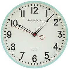 "Mainstays Indoor 11.5"" Mint Arabic Retro Schoolhouse Wall Clock"