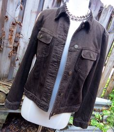 Ladies LRL Ralph Lauren Jeans Dark Brown Trucker Jacket Sz L Corduroy Trim #RalphLauren #JeanJacket #Casual