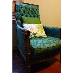 Pair of Vintage Glabman Arm Chairs in Turquoise/Olive  - $350.00