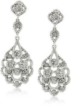 Nina Bridal Eiffel Antique Silver Crystal Statement Drop Ear