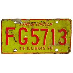 Vintage Lincoln Illinois License Plate 1970 ($85) ❤ liked on Polyvore featuring home, home decor, wall art, signs, vintage crates, jewelry plate, barn signs, car signs and vintage car wall art