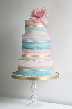 """""""Soft washed"""" pink, light blue, aqua, and gold striped wedding cake with oversized gum paste rose topper. Smaller version for gender reveal cake Metallic Cake, Metallic Wedding Cakes, Unique Wedding Cakes, Unique Cakes, Whimsical Wedding, Rustic Wedding, Naked Wedding Cake, Painted Wedding Cake, Gorgeous Cakes"""