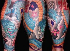Asian Tattoo Gallery – Chinese, Japanese, and Indian Tattoos Blau und Gold Chinese Dragon Tattoo Leg Sleeve Tattoo, Leg Tattoo Men, Sleeve Tattoos For Women, Tattoo Sleeve Designs, Tattoo Designs Men, Forearm Sleeve, Dragon Tattoo Foot, Asian Dragon Tattoo, Dragon Tattoo For Women
