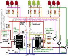 LED Pattern-Flasher, Astable 555 Timer, 4017 Counter and 2N2222A Transistors With Variable Resistance 0-500K at 100% | IamTechnical.com