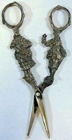 Ornate Edwardian Era Figural Embroidery Scissors - German 800 Silver.