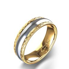 This two tone men's wedding band is skillfully crafted from 14 karat gold. The contrasting yellow gold and white gold detailing, complete with engravings, give this band a unique look. Wedding Day Cards, Simple Elegant Wedding, Trendy Wedding, Wedding Trends, Wedding Ideas, Wedding Decor, Wedding Stuff, Wedding Band Engraving, Wedding Reception Backdrop