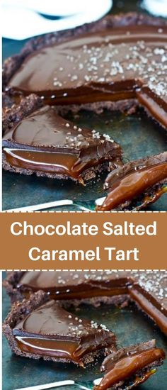 Caramel Deserts, Salted Caramel Tart, Salted Chocolate, Delicious Chocolate, Easy Desserts, Dessert Recipes, Crowd Recipes, Cooking Recipes, Pastry Blender