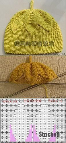 Baby Crochet Pattern Children& cap with knitting needles. Knitted Hats Kids, Baby Hats Knitting, Knitting Charts, Crochet Baby Hats, Knitting For Kids, Baby Knitting Patterns, Knit Crochet, Crochet Patterns, Bonnet Pattern