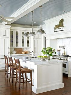 Beadboard Kitchen Ceiling - Design photos, ideas and inspiration. Amazing gallery of interior design and decorating ideas of Beadboard Kitchen Ceiling in dining rooms, kitchens by elite interior designers. House Design, Kitchen Ceiling, House Interior, Home, Kitchen Remodel, House, Home Kitchens, Traditional House, New Homes