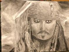 Johnny Depp charcoal pencil