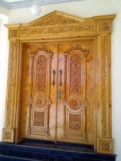 Wooden Double Doors, Wooden Front Door Design, Double Door Design, Wooden Front Doors, Classic House Design, Simple House Design, House Front Design, Beats Wallpaper, Wooden Sofa Designs