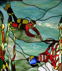 Witraże Tiffany Galeria Anna Danowska stained glass scuba diver