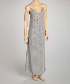 Take a look at this Gray Stripe Silk Maxi Dress by Charlotte Tarantola on #zulily today!