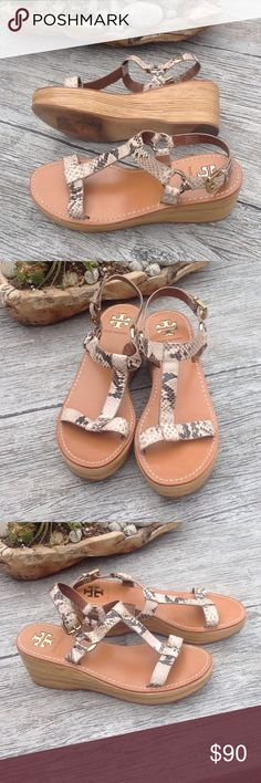 Tory Burch Sandles Snake skin straps, almost new, worn once. Shoes Sandals