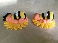 Baby bee cake toppers