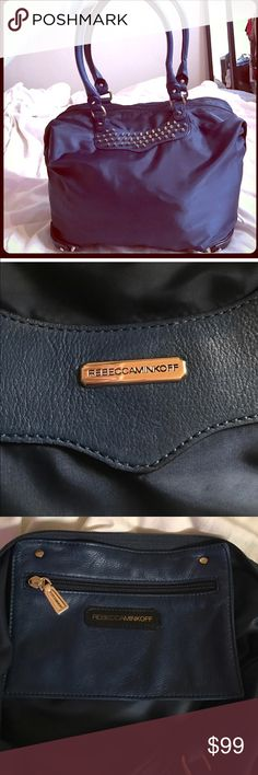 Rebecca Minkoff large studded nylon navy blue Beautiful tote purse, gently preowned. Beautiful bag wonderful designer. Rebecca Minkoff Bags