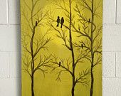 Hand painted lovebirds yellow black charcoal brown by BLLstudio