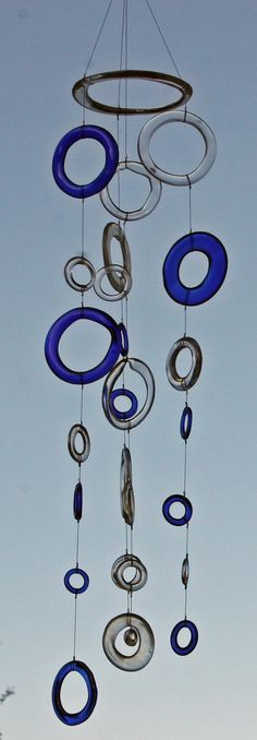 blue and clear recycled glass windchime mobile by ceeglass on Etsy, $76.00