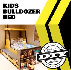 Bulldozer Bed (PLANS ONLY) in downloadable pdf format. A project you can build so your little one can transition to a big-kid bed they will love to sleep in!  These plans include many detailed diagrams and instructions, explaining each step very clearly.  Plans include: - Cut dimensions for all pieces - Materials and Quantities list - Step by step assembly instructions
