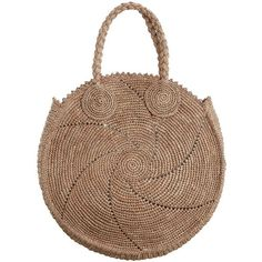 ZIMMERMANN Circular Woven Tote (€315) ❤ liked on Polyvore featuring bags, handbags, tote bags, raffia tote bag, woven tote bags, tote purses, circle handbags and brown handbags