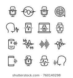 Stock Vector: Voice and speech recognition, cellular network vector icons. Mic command and hearing symbols. Illustration of voice recognition, innovation command - Lips Illustration, Illustration Art Drawing, Mic Logo, Vector Icons, Vector Illustrations, Vector Stock, Sh Words, Adele Photos, Icon Design