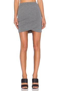 Bella Luxx Shirred Cross Front Mini Skirt in Steel Heather