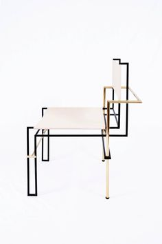 CASBAH, Functionalist Inspired Brass / Vachetta Tubular Chair by Nomade Atelier 2