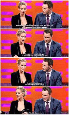 """Jennifer Lawrence explaining """"Passengers"""" :D"""