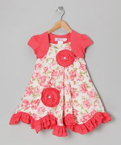 Take a look at this Coral Floral Ruffle Dress & Shrug - Toddler & Girls by Donita on #zulily today!
