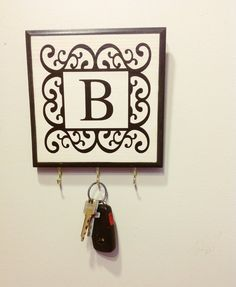Single Initial Monogram Key Holder/ Plaque. by ArtLery on Etsy