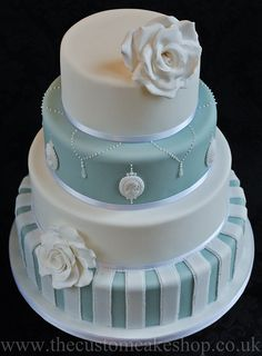'The Victoria' Wedding Cake duck egg blue with cameos