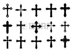 tatouage religieux: Jeu de symboles de la croix religieuse isolé sur blanc Illustration