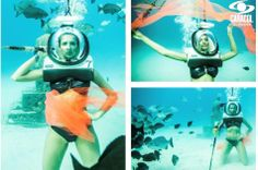 Katherine Moscoso . Colombia's Next Top Model, Cycle 2 Episode 14 > Photo Shoot 2: 6 Meters Underwater with a Diving Helmet, Posing with a Poseidon Statue
