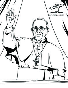 Pope Francis Catholic Coloring Page from Manga Hero!