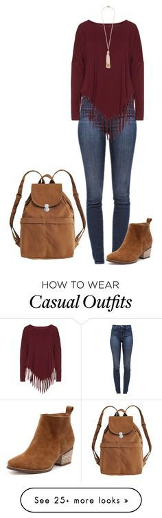 """Casual"" by tabiicat07 on Polyvore featuring BAGGU, J Brand, Boris and Miriam Haskell"
